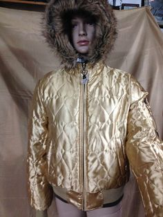 JLO Brown Gold Down Puffer Jacket coat HIP HOP Fur Hood M reversible motorcycle #JLO #Puffer