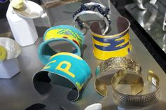 license plate cuffs by Wayne Nez Gaussoin (Picuris Pueblo/Navajo) Jingle Dress, Native Design, Native Style, Native American Fashion, Weekend Is Over, Navajo, Nativity, Cuffs, Art Pieces