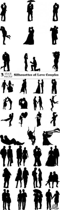 Vectors - Silhouettes of Love Couples - Scherenschnitt - Image Planning, Diy Canvas, Canvas Art, Canvas Ideas, Painting Canvas, Deco Podge, Silhouette Painting, Couple Silhouette, Wedding Silhouette