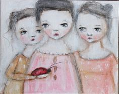 original girl child portrait bug primitive painting  by fadedwest, 3 dolls and a bug