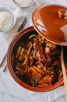 Pork Rib Stew with Foo Jook and Chee Hou sauce is simple homestyle Chinese cooking at its best. Foo Jook is a type of tofu, and it's delicious in this dish! Sauce Recipes, Pork Recipes, Asian Recipes, Cooking Recipes, Ethnic Recipes, Claypot Recipes, Smoker Recipes, Carne Asada, Dried Tofu