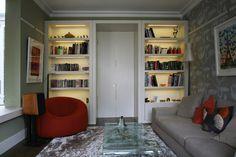 built in living room bookshelves.