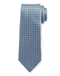 ERMENEGILDO ZEGNA Braided Neat Silk Tie, Blue. #ermenegildozegna #