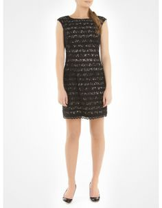 Striped dress with lace overlay - Black Cocktail dresses
