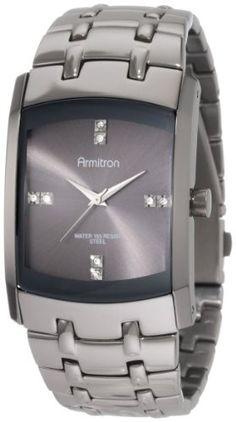Armitron Men's 20/4507DSDS Swarovski Crystal Dial Dark Silver-Tone Bracelet Watch