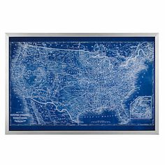 Bold and bright our Sapphire USA Map offers an artistic translation of US geography set against a stunning sapphire background with states highlighted white.