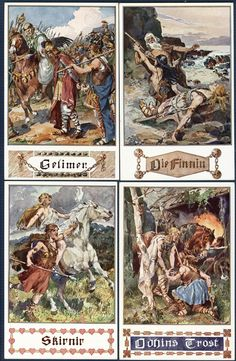 German Postcards These postcards illustrate scenes from the titled prose works penned by Felix Dahn by A.K. Marussig