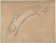 Study of the left hand of Mme de Pompadour  François Boucher / Black chalk with slight touches of red chalk, heightened with white.
