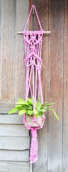 Flamingo hand dyed macrame plantanger by RanranDesign on Etsy
