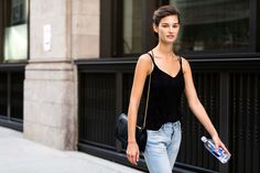 Ophelie Guillermand during New York Fashion Week in September 2015