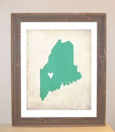 Maine Love State Customizable Art Print by mereleemade on Etsy, $16.00