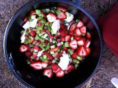Derek on Cast Iron - Cast Iron Recipes: Recipe: Camp Dutch Oven Strawberry Rhubarb Crisp (Gluten Free)