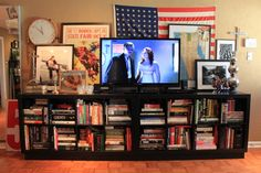 Expedit bookcases on a base (love the layered styling too) - The Cavender Diary