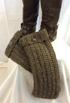 Leg Warmers, Long Crocheted Boot Cuffs, Boot Toppers, Sock Toppers, Earth-tone Brown Colors, Winter Accessories, Girls/Women's/Teens Gifts - pinned by pin4etsy.com