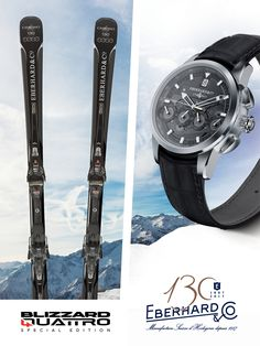 """EBERHARD & CO. AND BLIZZARD, SWISS WATCHES AND SKI COMBINED IN A PRODUCT THAT CELEBRATES THE EXCELLENCE AND THE 130 YEARS OF A GREAT MAISON From the union of two historical brands that express the best quality, the excellence and the savoir-faire, Eberhard & Co. and Blizzard, a special ski is born:  """"Blizzard Quattro Special Edition"""""""