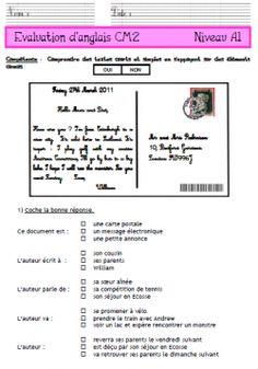 anglais, niveau A1, cm2, évaluation,  fiches, exercices