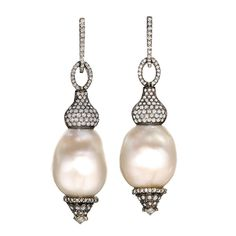 One of a Kind White Baroque Pearl Diamond Gold Swing Drop Earrings | From a unique collection of vintage chandelier earrings at https://www.1stdibs.com/jewelry/earrings/chandelier-earrings/