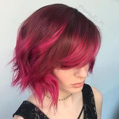 Razored Magenta Bob With Bangs