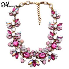 Vintage Brand Blue Water Drop Crystal Floral Chain Collar necklace Fashion Unique Statement Choker Charm Jewelry Women Party4621