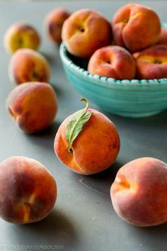 Fresh Peach Cobbler | Sally's Baking Addiction Pecan Cobbler, Peach Crumble Pie, Fresh Peach Cobbler, Peach Syrup, Baked Peach, Strawberry Rhubarb Crisp, Easy Sweets, Ripe Peach, Sallys Baking Addiction