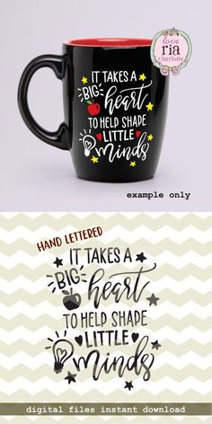 It takes a big heart to help shape little minds, teachers day quote digital cut files, SVG, DXF stud