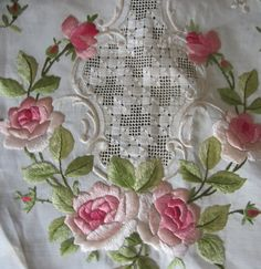 SOLD  Vintage Embroidered Round Tablecloth  by JewelsOfHighElegance, $12.00