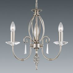 Beautiful 3 arm chandelier with twist in satin nickel finish with glass drop detail.  Handmade in England to the highest quality.