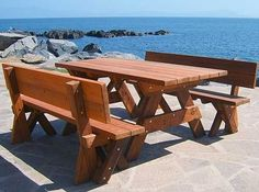 picnic table with backrest | Rectangular Wood Picnic Tables - Wood Picnic Tables | Forever Redwood