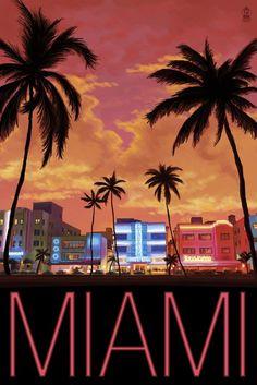 South Beach Miami, Florida Poster (12x18 Travel Poster) #affiliate