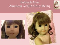 This is an American Girl Just Like You. She arrived with frizzy hair and a scrape on her nose. To see her visit to the doll spa, follow the link. If a little mommy is at home missing her doll, she will receive Facebook status updates like this one.