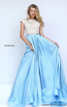 2017 New Sherri HIll 50843 Ivory Blue Lace Prom Dresses