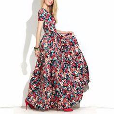 Floral Print High Waist Scoop Long Dress - Meet Yours Fashion - 2