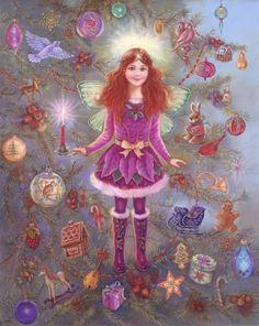 CHRISTMAS TREE FAIRY PAINTING by Judy Mastrangelo Contemporary Fine Art and Fantasy Fine Art
