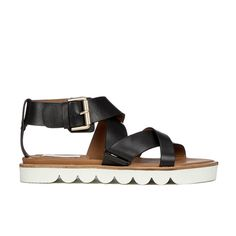 See by Chloe Women's Leather Flat Strappy Sandals - Black