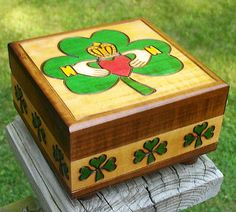 Claddaugh Small Jewelry Box Hand Crafted Wood.