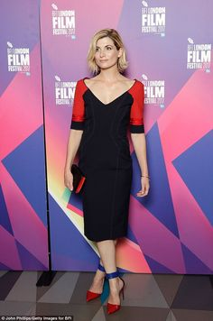 Stylish: Actress Jodie Whittaker, sent temperatures rising in a black and red fitted dress as she attended a screening of her new film Journeyman at the BFI London Film Festival on Thursday English Actresses, Actors & Actresses, Jodi Whittaker, Kylie Minoque, London Film Festival, Old Actress, Doctor Who, 13th Doctor, Eleventh Doctor