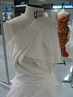 Experimental draping with decorative pleat folds - moulage; garment construction; fabric manipulation for fashion design; couture sewing techniques by esra34