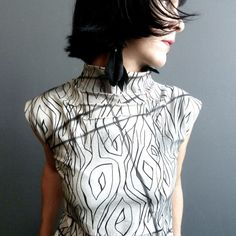 Handmade Womens Top Hand Printed Sleeveless Jersey Shirt Enchanted... ($145) ❤ liked on Polyvore
