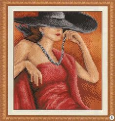 Part 01 - Lady in red (total 3 parts) Cross Stitch Love, Counted Cross Stitch Patterns, Cross Stitch Charts, Cross Stitch Embroidery, Stitch And Angel, Chart Design, Stitch 2, Cross Stitching, Needlepoint