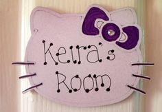 Hello Kitty bedroom door sign   girls by CheerUpCrafts on Etsy, £4.95
