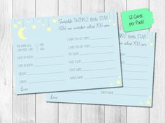 Adorable prediction cards for the mommy-to-be in Twinkle Twinkle Little Star theme!!