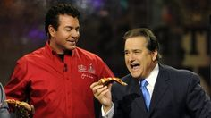 Papa John's Founder, Chairman and CEO John Schnatter, delivers a pizza to the NFL Network set at the NFL Media Center, promoting Papa John's Super Bowl XLVII Coin Toss Experience, Thursday, Jan. 31, 2013, in New Orleans.  (Photo by Jack Dempsey/Invision for Papa John's/AP Images)