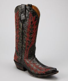 Take a look at this Black & Red Distressed Leather T-Toe Western Boot - Women by Johnny Ringo Boots on #zulily today!