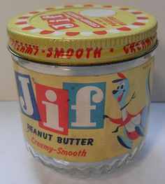 letters in squares JIF Peanut Butter Jar Vintage Antique Glass Bottles, Vintage Bottles, Vintage Tins, Vintage Love, Vintage Dolls, Retro Vintage, Retro Recipes, Vintage Recipes, Retro Advertising