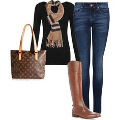 like the top and scarf but maybe with camel skirt and black tights and boots for a dressier look