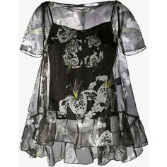 Erdem Floral Print Noelle Top ($760) ❤ liked on Polyvore featuring tops, cami top, flower print tops, star print top, frilly tops and ruffle top
