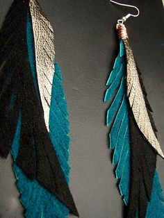 Leather Feather Earrings - black teal and gold long and lush shoulder dusters