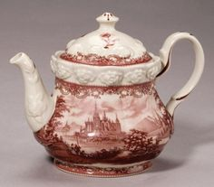 Red Toile TEAPOT Castle Embossed Roses