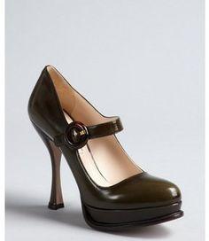Prada military green shined leather buckle flared heel platform mary janes on shopstyle.com