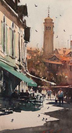 Campo San Margarita, Venice - Watercolor by Joseph Zbukvic